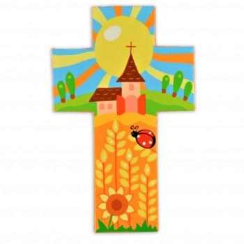 Croix avec une église et...