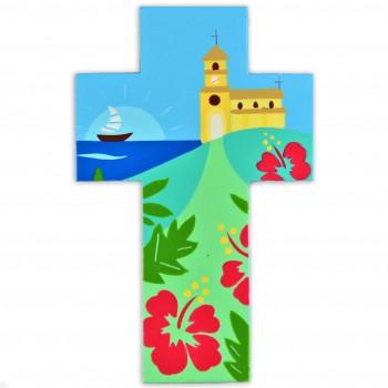 Croix avec une église à Tahiti
