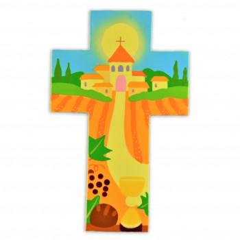 Croix avec une église un...