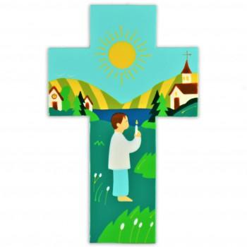 Croix enfant et sa bougie