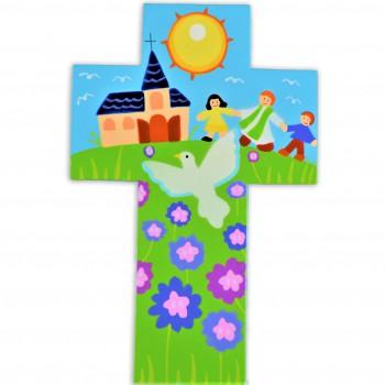 Croix prêtre accompagnant des enfants à l'église