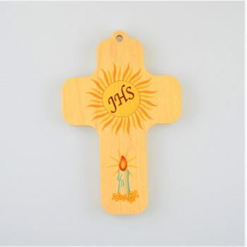 Croix en bois  / JHS et bougie
