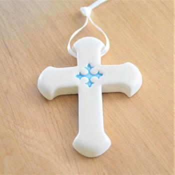 Croix Latine cœur bleu