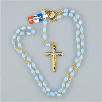 Chapelet perle de verre bleu
